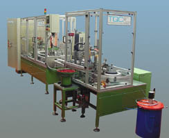 pallet transfer system for automatic assembly and test of metal parts